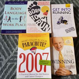 Preloved Self Help Books - Winning by Jack Welch, Body Language in the Workplace by Allan + Barbara Pease, Born to Run, Get Into Running, What Color Is Your Parachute 2007