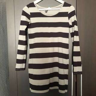 H&M Black Grey Striped Bodycon Dress