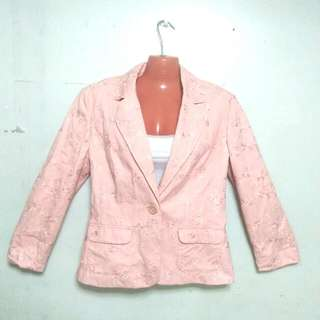 Pink Embroidered Blazer