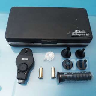 Keeler Halogen 28 Ophthalmoscope with accessories and bulbs