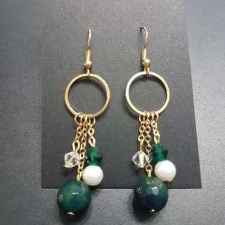 Deep pine green earrings