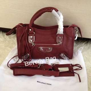 jual tas Balenciaga Edge 30 LEATHER MIRROR - maroon SHW