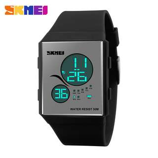 SKMEI Sport Silicone LED Watch Water Resistant 50m - DG1169 - Black