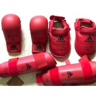 Adidas Karate, Taekwondo mma Gloves, Shin and foot protectors