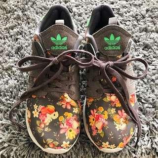 Adidas Grey Suede Floral Sneakers