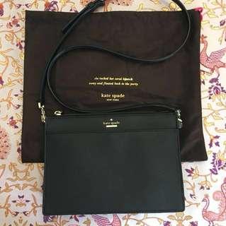 Kate Spade Clarise Black Saffiano Leather crossbody Bag