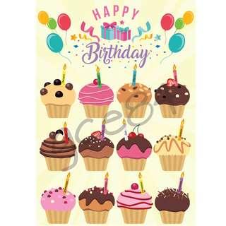 Classroom Birthday Chart - Cupcake
