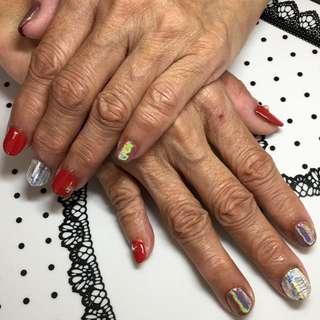 Gel manicure Red x Silver