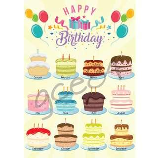 Classroom Birthday Chart - Cake