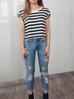 Sportsgirl crop stripe black white t-shirt xs 6 8