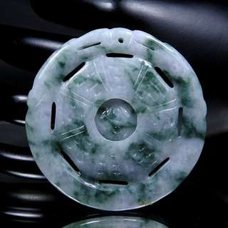 🚚 珍珠林 新品到 A貨緬甸玉翡翠八卦時來運轉玉珮 辟邪利器 時來運轉#857