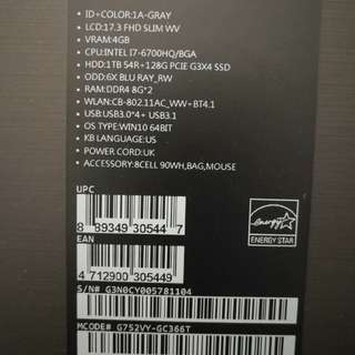 ASUS ROG 17 inch like new under warranty with receipt
