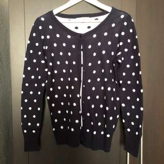 Navy White Polka Dot Cardigan