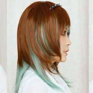 Two-Toned Brown/Green Mint Wig - Medium