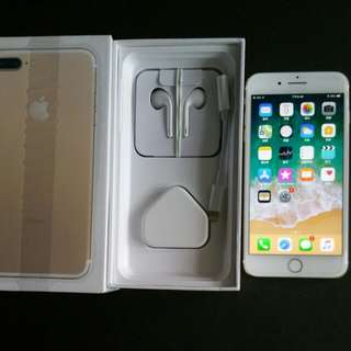 99%  gold colour iPhone 7 plus 128gb, Hong Kong zp version,  full set with box