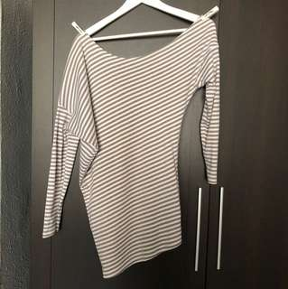 Beige Striped Asymmetrical Off Shoulder Long Sleeve Top