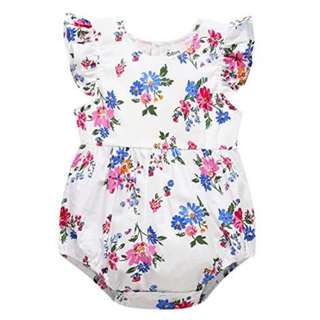 Floral Romper with heart shape hollow back