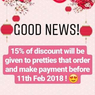 15% off promotions for ready stock items 😍😍