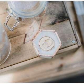 Rose gold rustic geometric ring box