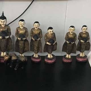 [$38] Wooden Buddist Monk Statues in a Set of 6