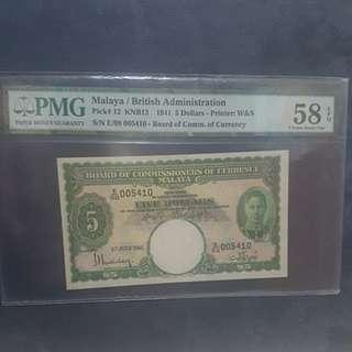 SALE!!! Malaya/British Administration 1941 $5