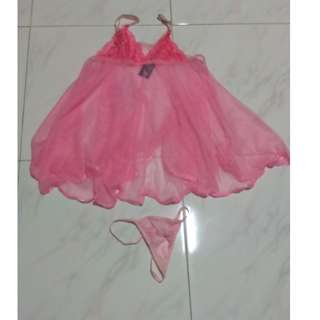 *Sexy + Slutty!* Full Set Of Special, See-Through Pink Lingerie! G-string included!