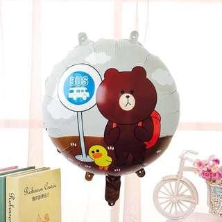 Happy birthday balloon brown bear line