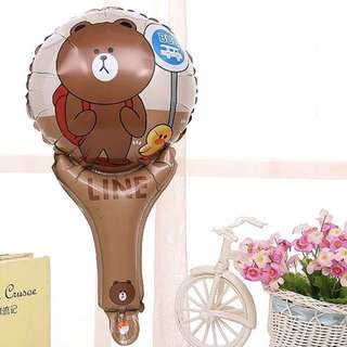 Happy birthday foil balloon brown bear handheld  line