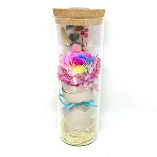 Preserved Rose (Rainbow) in Glass Bottle