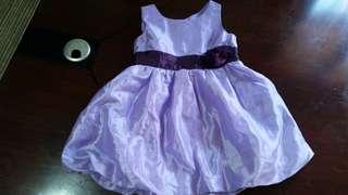 Purple satin dress for kids