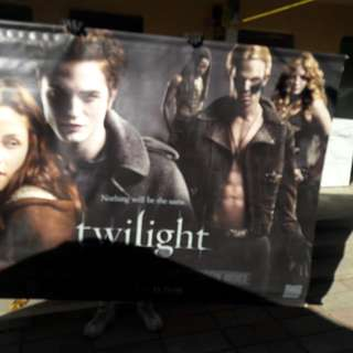 Twilight movie poster from theatre, cloth like!   5ft by 7ft. Make offer