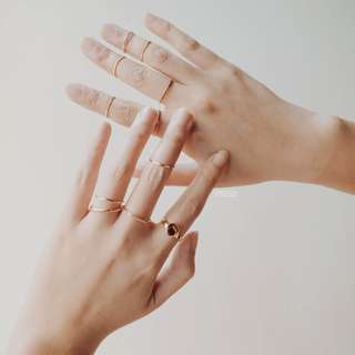 Gold Stack Rings Geometric