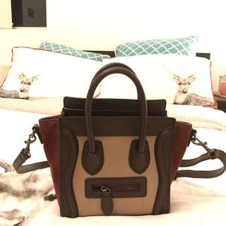 Celine nano luggage burgundy