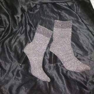 ZARA BASIC Glittery Sock Heeled Boots