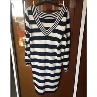 REPRICED Black and White Stripes Dress (Stretch)