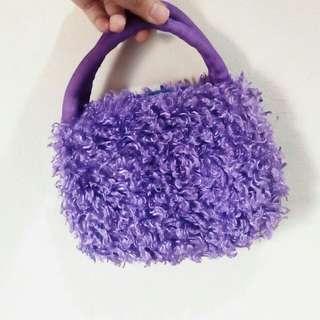 Purple Furry Hand Bag small