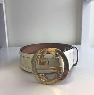 Gucci white pvc belt