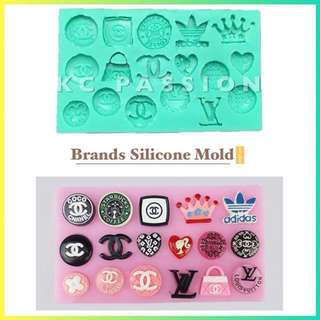 💼 BRANDS SILICONE MOLD TOOL for Pastry • Chocolate • Fondant • Gum Paste • Candy Melts • Jelly • Gummies • Agar Agar • Ice • Resin • Polymer Clay Craft Art • Candle Wax • Soap Mold • Chalk • Crayon Mould •