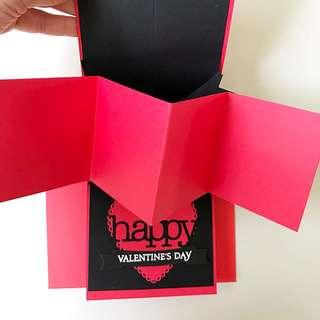 Happy Valentine day Twist and pop Handmade card