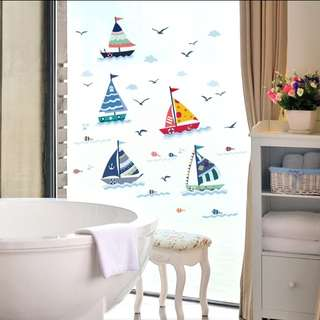 Sailing restroom bathroom waterproof cartoon stickers children's room kindergarten stickers/Home Decor