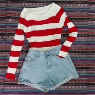 🚚 紅白條紋 秋冬 上衣