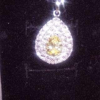 靚靚18k金包純銀 黃色 水晶一粒碎鑽石吊墜~ 新年特價$688