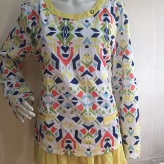 UBANEY sunny yellow multicolor print tie back long blouse xl