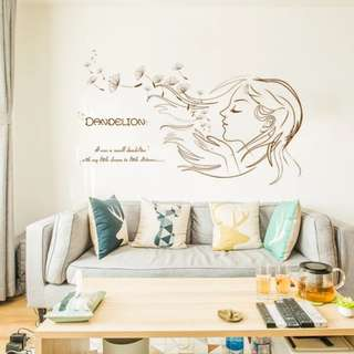 Dandelion girl in the wind Nordic ins modern minimalistic sticker art sofa background/Home Decor