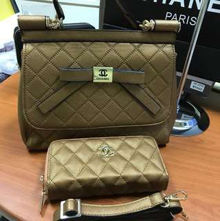 CHANEL YELLOW GOLD BAG AND WALLET