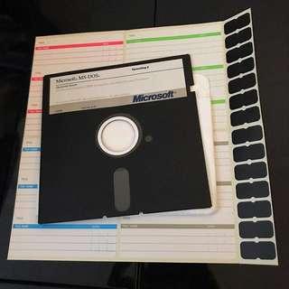 Microsoft Vintage Floppy Disk with sticker labels