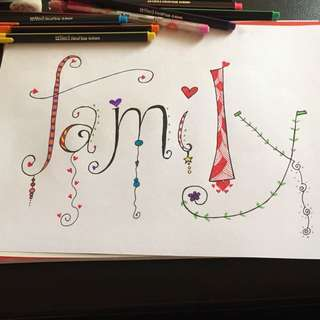 Family doodle wall decor