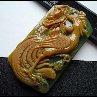 🍍Big!!! Grade A 冰糯 Yellow Phoenix 凤凰 Jadeite Jade Pendant/Display🍍