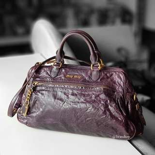 Authentic Miu Miu Purple Leather Two Way Tote