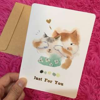 Cat Message Card Just For You Love Kitties Surprise Gift Card Love Letter Greetings Warm Wishes Girlfriend Boyfriend Friendship Meow